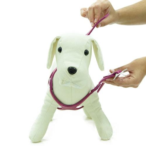 Peitoral de couro para cães Royale cor-de-rosa
