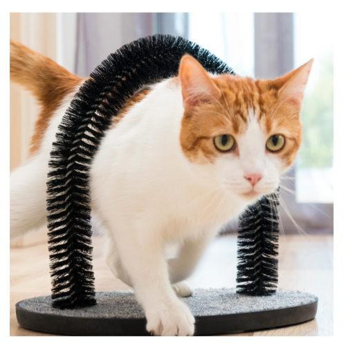 Arranhador com arco massageador para gatos
