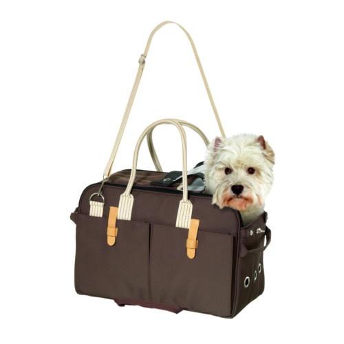 Bolsa de transporte castanha para cães e gatos