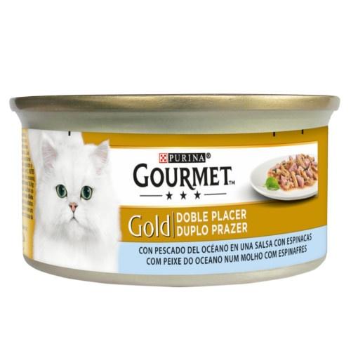 Gourmet double plaisir Molho de peixe com espinafre oceano gatos