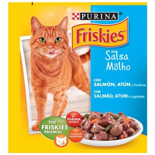 Friskies Adulto Salmão, Atum e legumes em molho para gatos