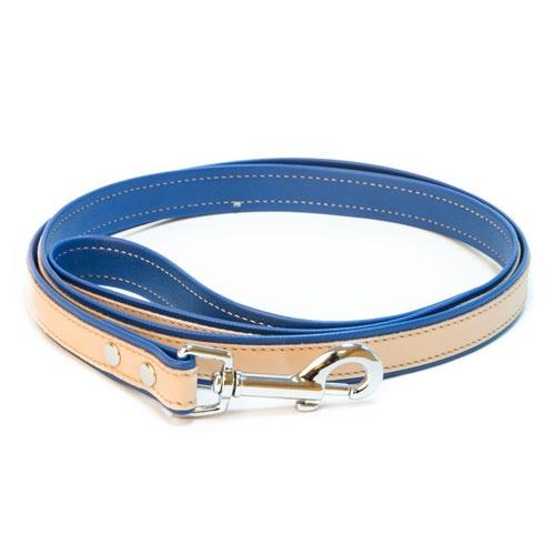 Trela de couro TK-Pet Luxe bicolor azul